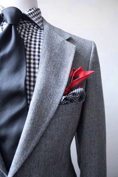 Gray Mens Suit, Navy Gingham Shirt + Navy Tie