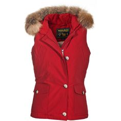 Woolrich W's Beckley Vest Red Down Vest With Fur Trim ($515) ❤ liked on Polyvore
