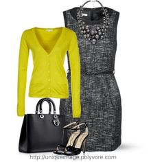 Work Style. Professional Dress with Cardigan