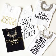 Cute tees for summer. Need them all! Wine tees, designer tees, graphic tshirts