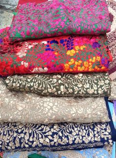Great example of how different colors in fabrics can create a vastly different effect even if the have an identical design.