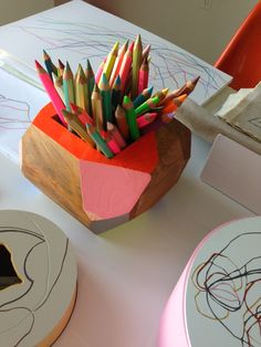 Pencil holder with bright neon colors from Justina Blakeney's visit to Karen Kimmel Studio   Photo by Justina Blakeney