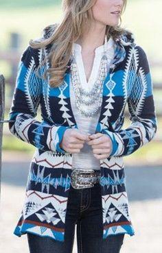 Cowgirl BOHO Gypsy Open Soft Albuquerque Cardigan Sweater Aztec Tribal Blue M/L #lulumari #Cardigan
