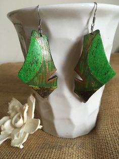 Green Dangle Coconut Shell Earrings, Dangle Earrings, Green And Bronze Coconut Shell Earrings, Gift For Her, Women's Jewlery by FingerMagic on Etsy https://www.etsy.com/listing/270122737/green-dangle-coconut-shell-earrings