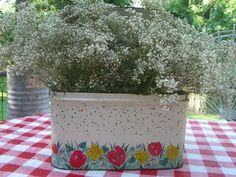 Vintage bread box full of baby's breath (from Cherry Hill Cottage)