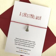 Christmas Wish Bracelet. A Christmas Wish. Christmas tree charm by LooksInviting on Etsy Gifts For 18th Birthday, Birthday Wishes, Bracelets With Meaning, Wish Bracelets, Christmas Wishes, Kids Christmas, Magic Reindeer Food, Secret Santa Gifts, Card Sizes