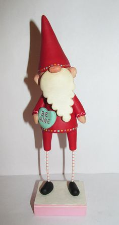 Valentine Gnome with BE MINE candy heart by JanellBerryman on Etsy Sculpture Art, Sculptures, Paper Mache Clay, Cute Clay, Cold Porcelain, Gourds, All Art, Art Dolls, Polymer Clay