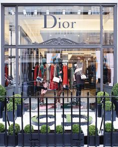 Hedges shaped in Christian Dior's initials introduce the window display of the new Dior boutique in London, featuring the mannequins in animal prints from the Autumn-Winter 2015-16 collection.