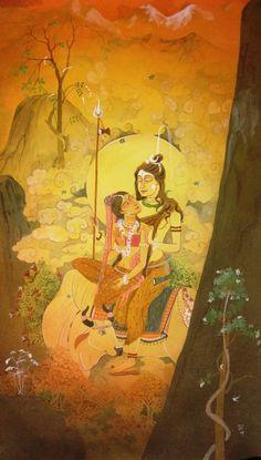 Orange-Red watercolor Painting by Rina Roy on Paper, Figurative based on theme Rina Roy's Watercolour Gallery. Shiva Art, Krishna Art, Hindu Art, Lord Shiva Painting, Love Painting, Figure Painting, Shiva Parvati Images, Shiva Shakti, Indian Art Gallery