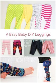 EASY DIY BABY LEGGINGS Super cute ideas for making your own baby leggings.Super cute ideas for making your own baby leggings. Baby Sewing Projects, Sewing For Kids, Baby Sewing Tutorials, Sewing Ideas, Diy Projects, Diy Clothing, Sewing Clothes, Recycled Clothing, Clothing Stores