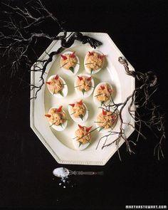 Devilish Eggs Love the black branches against the white plate. Summer treat. #SummerSecretsContest