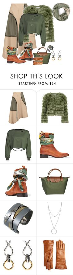"""""""Leather Skirt"""" by freida-adams ❤ liked on Polyvore featuring TIBI, Alice + Olivia, WithChic, Maison Margiela, Longchamp, Porsche, Botkier, Alexander Wang, Saks Fifth Avenue Collection and Bohemia"""