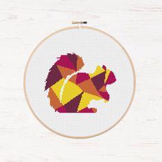 Chipmunk Cross Stitch Pattern Woodland DIY Squirrel Polygon Geometric Mosaic Instant Download PDF Modern Cross Stitch Forest Animal Collage by Stitchonomy on Etsy https://www.etsy.com/listing/252213269/chipmunk-cross-stitch-pattern-woodland