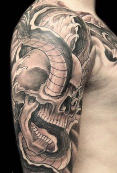 Male Tattoo Ideas Skull Snake