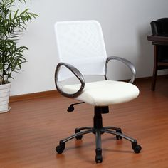 Get comfortable with your work in this white mesh-back office chair from Aragon. With tilt and height adjustment, pewter-finished armrests, and an Opusoft vinyl seat, this chair will conform to fit your body for improved comfort and overall health. Shared Home Offices, Conference Room Chairs, Chair Parts, Office Furniture Stores, Chair Height, White Office, Ergonomic Chair, Home Office Decor, Home Decor