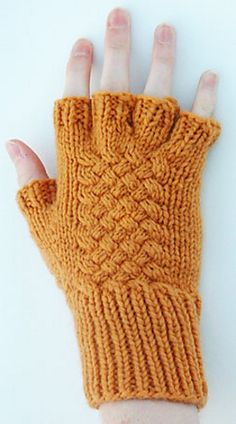 Ravelry: Woven Cable Fingerless Gloves pattern by Harry Wells