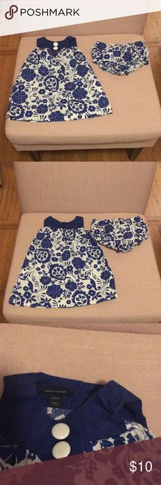 Tommy Hilfiger sundress and diaper cover So cute!  Excellent condition.  Blue and white flowered patterned dress with button adorned neckline. Tommy Hilfiger Dresses Casual