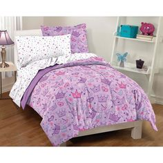 Easily set up a new room for your little girl with this stars and crowns five-piece twin-size bedding set in a bag. This princess bedding set has a pink and purple color scheme with hearts, crowns, wands, and stars sprinkled on the comforter and sheets.