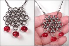 Ruby Tears - unique chainmaille pendant. #jewelry #ksenyajewelry #pendant #chainmaille #wirejewelry #red