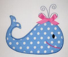 Whale Embroidery Design Machine Applique. $2.99, via Etsy.