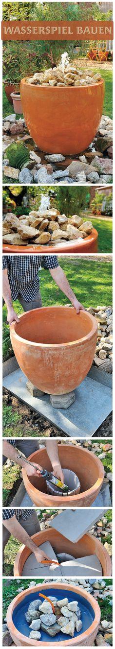 Plätscherndes Wasser im Garten entspannt – und unser Wasserspiel ist zudem ein toller Hingucker. Den Mini-Springbrunnen im großen Tontopf kann man selbst bauen. Einfach unserer Bauanleitung folgen und schon gehört das hübsche Teil dir.