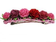 Flower Hair Barrette, Flower Hair Clip, Red, Pink Hair Accessory for Girls, Teens, Women, Wedding, Flower Girl