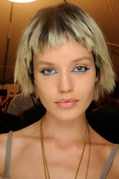 """Makeup artist Francois Nars only did one show at New York Fashion Week—so naturally, he made it count, giving models edgy and unforgettable cat eyes in a rich teal shade (NARS Eyeliner Pencil in Kalisté, to be exact.) """"This is a summer look that's all about the eye,"""" he said.  Read more: Spring 2014 Runway Beauty - Hair, Makeup and Nails from New York Fashion Week Spring 2014 - Harper's BAZAAR"""