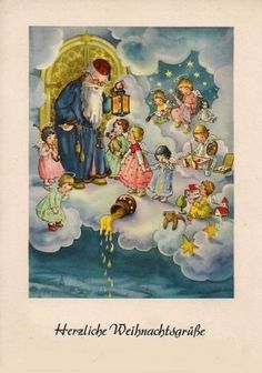 Karte-AFKH-Krüger, Beautiful Heavenly Christmas card We always recieved Christmas post-cards from our family in Germany