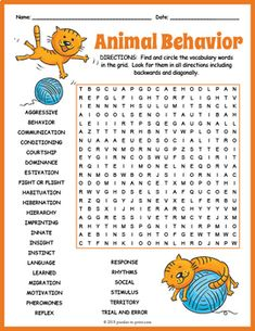 Animal Behavior Word Search by Puzzles to Print Word Puzzles For Kids, Word Search Puzzles, Worksheets For Kids, Physical Adaptations, Ocean Lesson Plans, Behavior Cards, Free Printable Word Searches, Fourth Grade Science, Writing A Book