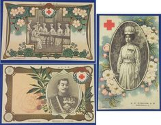 1906 Japanese Red Cross Postcards Commemorative for The 14th General Meeting of the Japan Red Cross Society after  the war ( = Russo Japanese War) / Art of Imperial  family engaged in Red cross activity & Cherry blossoms  , / vintage antique old Japanese military war art card / Japanese history historic paper material Japan