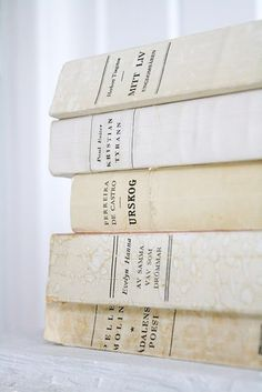 We LOVE all antique books but antique books in all shades of white?? Amazing and very hard to find. Snap them up if you see one when you are out thrift-ing. If you don't, we will.