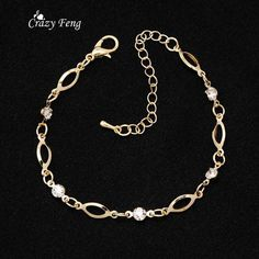 18K Gold plated Trendy romantic Bracelets For Girl Women's Jewelry anklet  Austrian Crystal - Cerkos.com