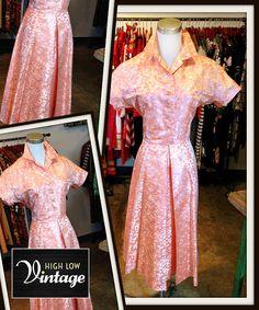 Vintage Peach Brocade Dress FREE SHIPPING