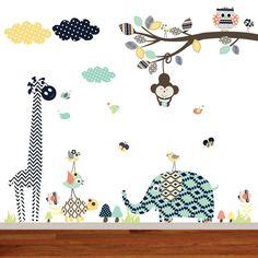 Aztec Nursery Branch, Modern Animal Aztec Patterns, Aztec Animals, Tribal Wall Decals, Nursery Wall Art, Aztec Patterns by wallartdesign on Etsy https://www.etsy.com/listing/213132348/aztec-nursery-branch-modern-animal-aztec