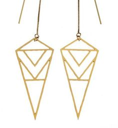 ON SALE Diamond Triangle Gold Earrings by friedasophie on Etsy