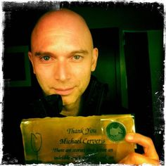 Michael Cerveris with his @Fringenuity ambergram and coin!