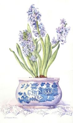 ARTFINDER: Spring Hyacinths by Zoe Norman - Original watercolour still life of an old willow tureen filled with blue spring hyacinths.