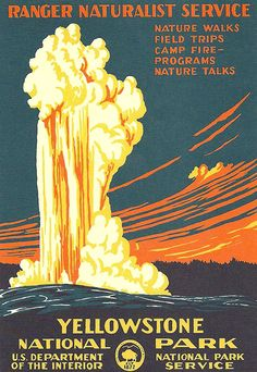 Art we have: WPA National Parks Poster - Yellowstone National Park, Geyser Gig Poster, Wpa Posters, Retro Posters, School Posters, Poster Prints, Vintage National Park Posters, Voyage Usa, Grand Parc, Us National Parks