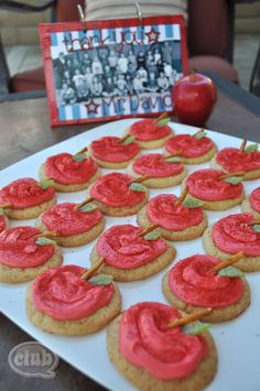 Class gift idea and party treat for teacher - homemade scrapbook and apple decorated cookies