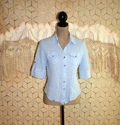 Light Blue Shirt Short Sleeve Top Cotton Button by MagpieandOtis
