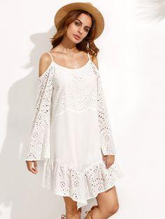 White Cold Shoulder Ruffle Hem Bell Sleeve Dress -SheIn(Sheinside)