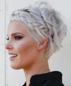 pixie cut with braided fringe