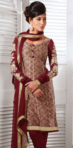 Classic Red and Wine Cotton with Silk Churidar Suit - IG331209USD $ 68.76