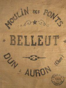 Vintage burlap grain sack - in French!