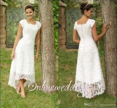 Vintage Short Hi Lo Wedding Dresses Tea Length 2016 Full Lace Modest High Low Beach Sleeves Cheap Elegant Scoop Simple Country Bridal Gowns Simple Elegant Wedding Dresses Vintage Lace Wedding Dress From Onlinewedding, $104.53| Dhgate.Com