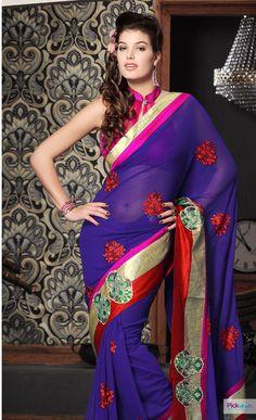 Stylish Blue Embroidered #Designer Saree.  #Shop now : http://www.pickurs.com/index.php/sarees/designer-sarees/kundan_2419_h_s-detail.html