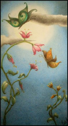 """Batterflies in the night"" pastelli su carta di Evita cantoni"
