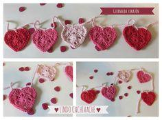 guirnalda corazones al crochet - puro amor