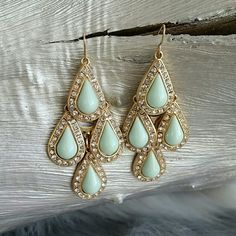 """Mingling Mint earrings"" Brand new Brand new Mingling in mint green earrings. Stunning with gold toned metal and rhinestones details. Hypo allergenic Hook style Jewelry Earrings"