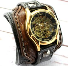 Gold Steampunk watch Leather wrist watch Men's watch